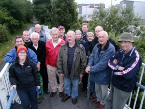 Walking tour group of old Cork Blackrock Railway line