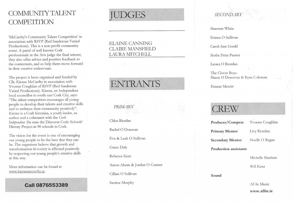 Programme, Talent Competition Final