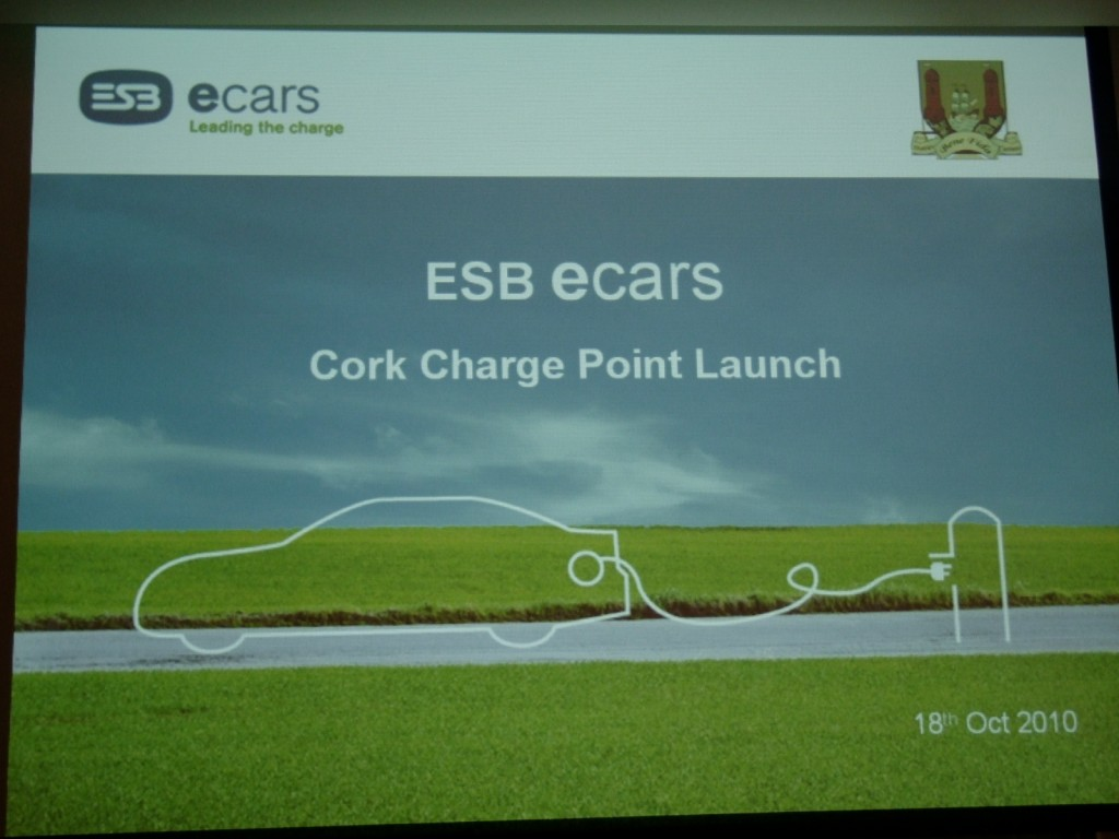 Ecar presentation page by the ESB, Imperial Hotel, October 2010