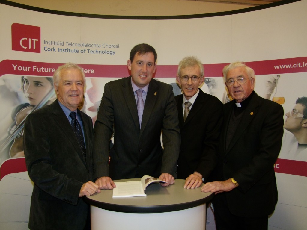 587b. At the recent book launch at the Unitarian Church on Princes Street, Cork; l-r, Brendan Goggin, Kieran McCarthy, Dr. Brendan Murphy, Canon G. Salter