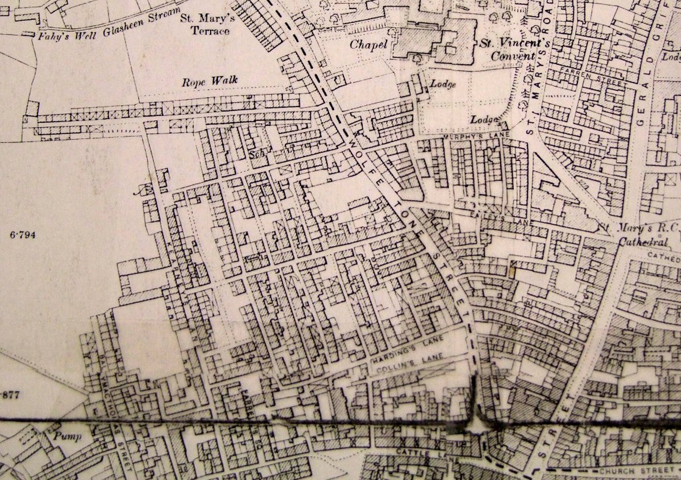 603b. Map of tenements to the north-west of Shandon, c.1900