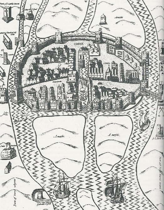 774a. Walled Town of Cork , c.1575 from Pacata Hibernia