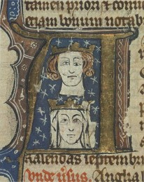 780c. Early fourteenth-century manuscript initial showing Edward and his wife Eleanor