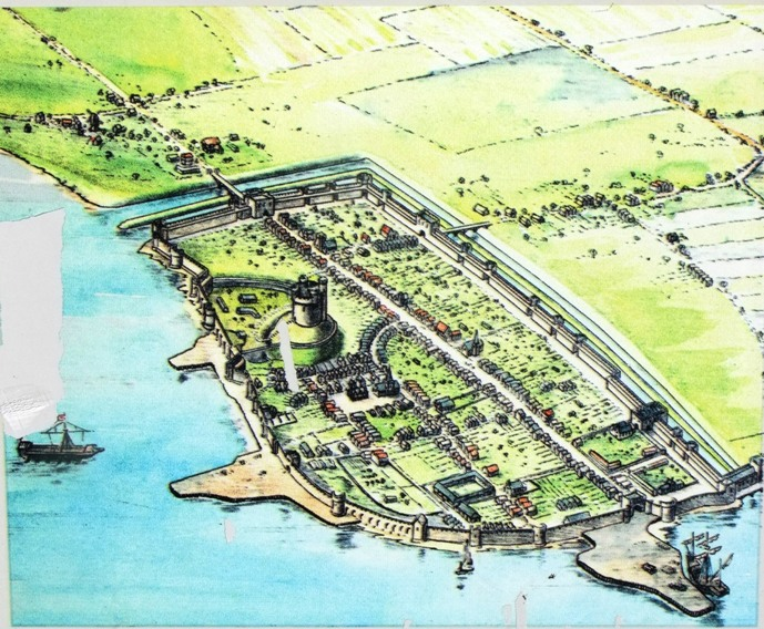 779a. Romanticised view of Southampton, c.1450