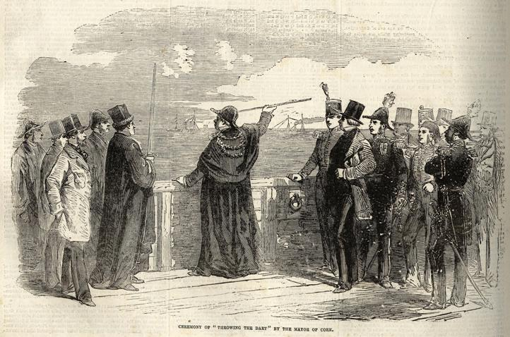781a. Throwing the Dart ceremony with Mayor and officials, mouth of Cork Harbour, 1855
