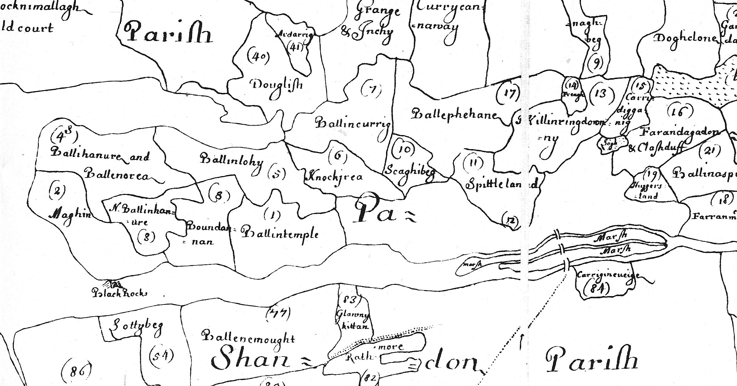 Section of William Petty's map of 1655 showing Cork and what is now the south east ward