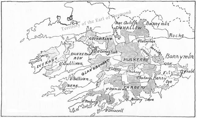 782a. Map adapted from W F Butler, 1920, Pedigree and Succession of the House of MacCarthy Mór