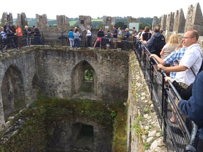 782b. Ramparts of Blarney Castle, present day and the kissing of the stone