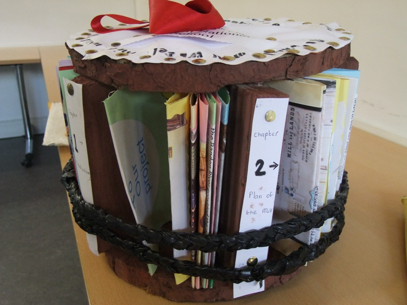 784b. Creative project book holder in the shape of the old Farnashesheree Grain Mill, Bandon from students of Ahiohill NS, Bandon