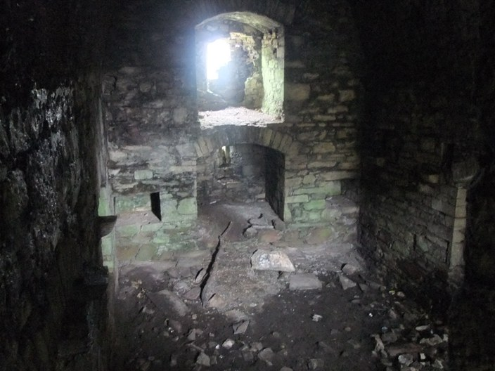 787b. Interior of Kilcrea tower house, March 2015