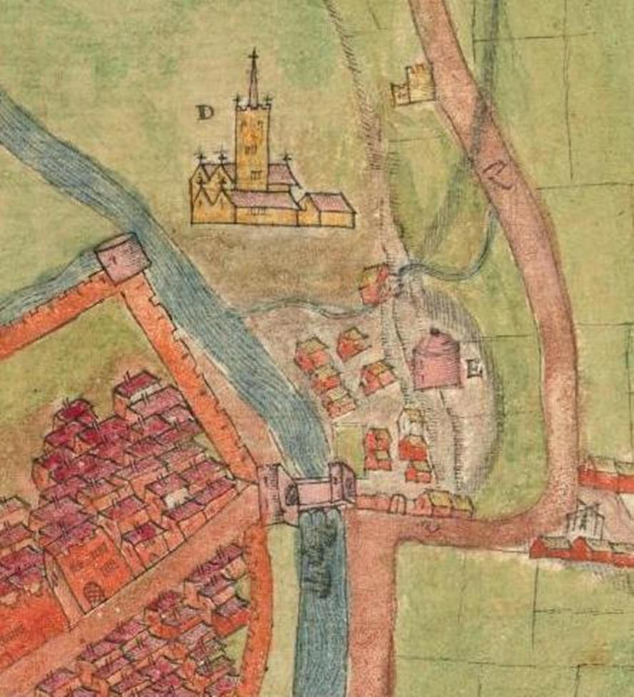 792b. Shandon Abbey from A description of the Cittie of Cork Plan of Cork, circa 1602