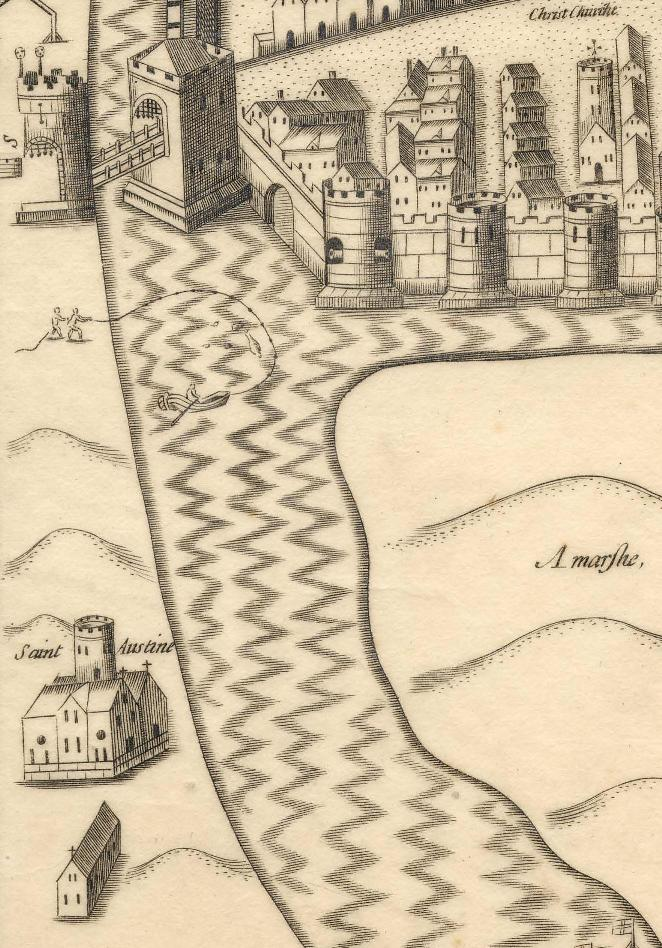 795a. Plan of Augustinian Abbey with South Gate Bridge from Map of Cork
