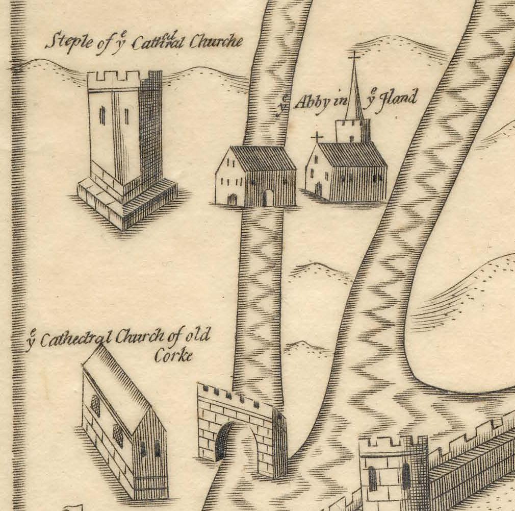 797a. Plan of Dominican Abbey with section of walled town of Cork