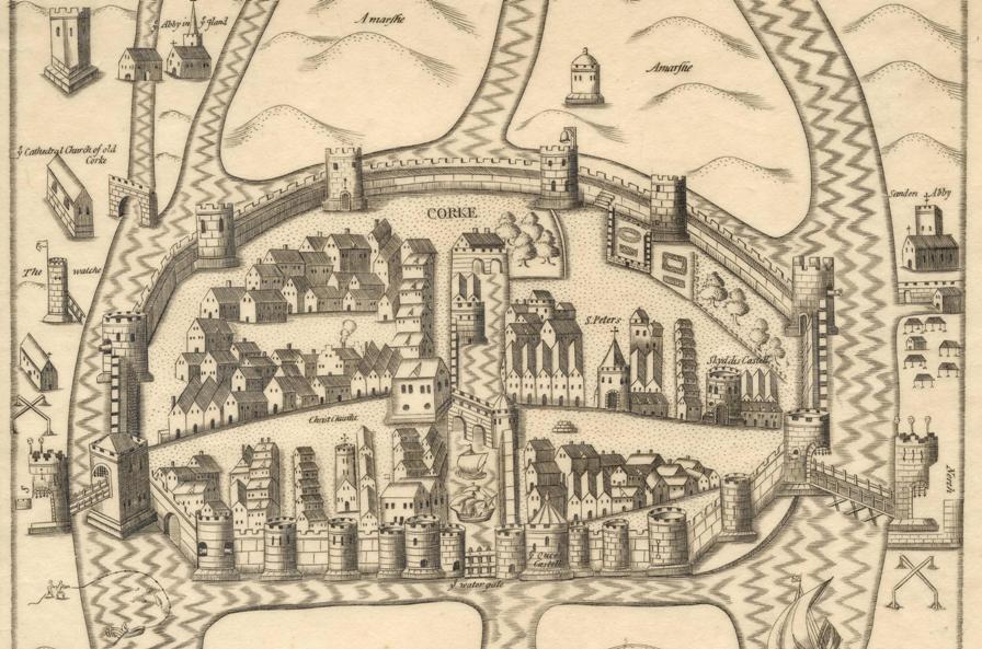 804a. Map of Cork, late sixteenth century as depicted in Sir George Carew's Pacata Hibernia