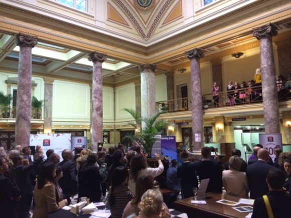 805b. Interior of 66 AIB, South Mall at this year's launch of the Cork International Choral Festival