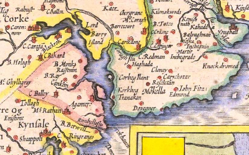 814b. Depiction of Cork Harbour and East Cork