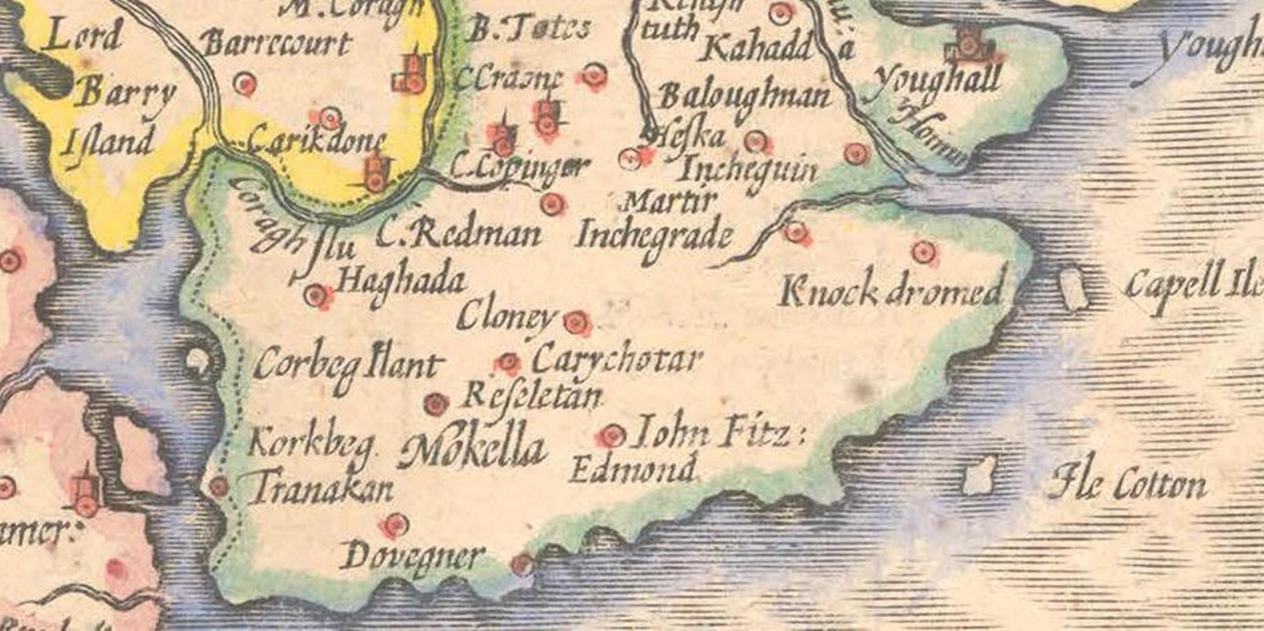 817a. Eastern section of Cork harbour from John Speed's Province of Munster