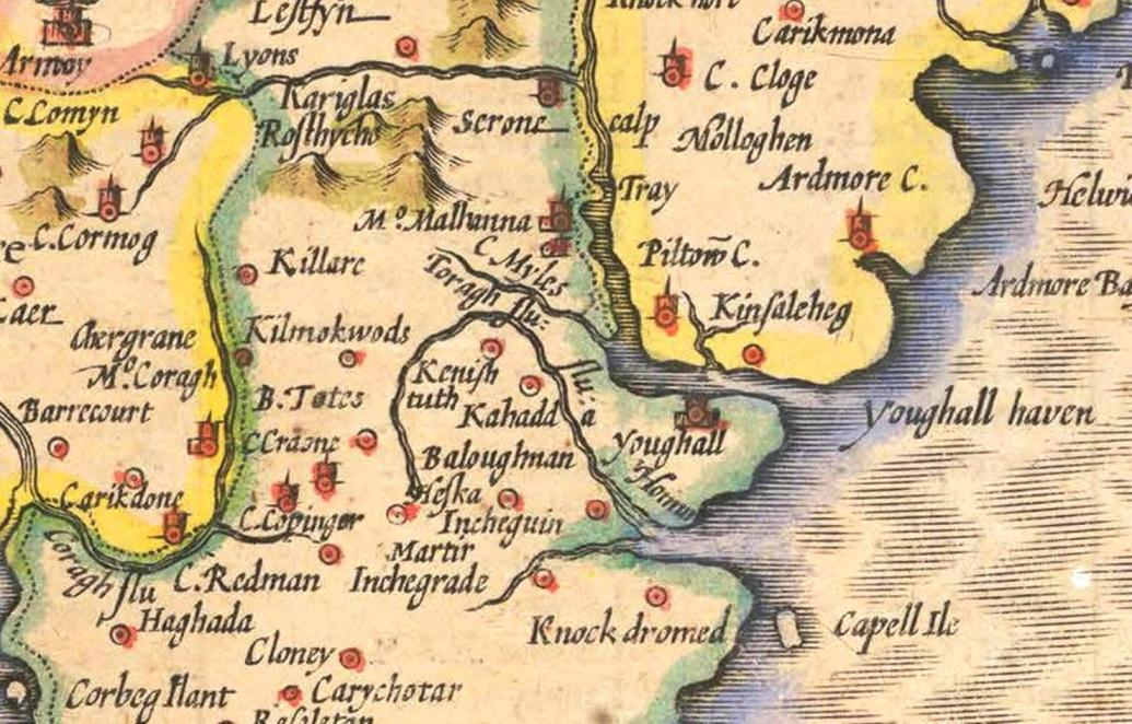 818b. Section of East Cork from John Speed's Province of Munster, from his The Theatre of the Empire of Great Britaine, c.1610-11
