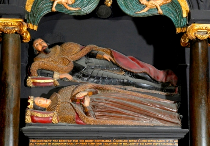 821b. Richard and Catherine Boyle depicted on their memorial in St Patrick's Church Cathedral Dublin