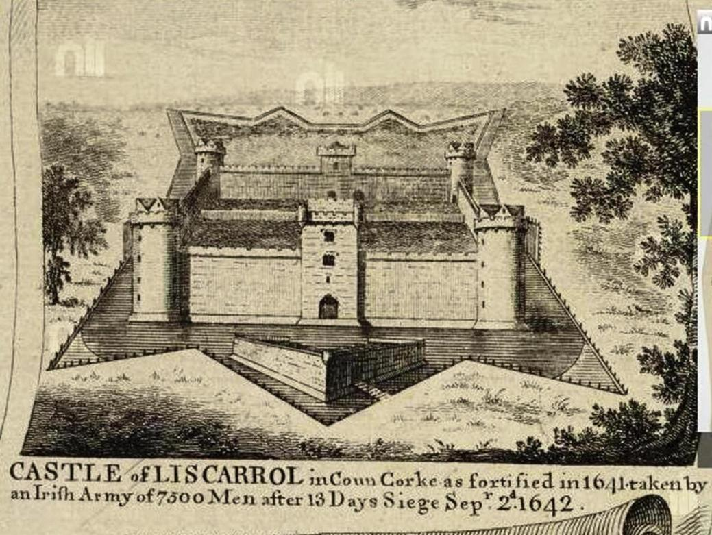 832a. View of Liscarroll Castle, published in 1764, published as part of coat of arms of the Perceval family, Earls of Egmont