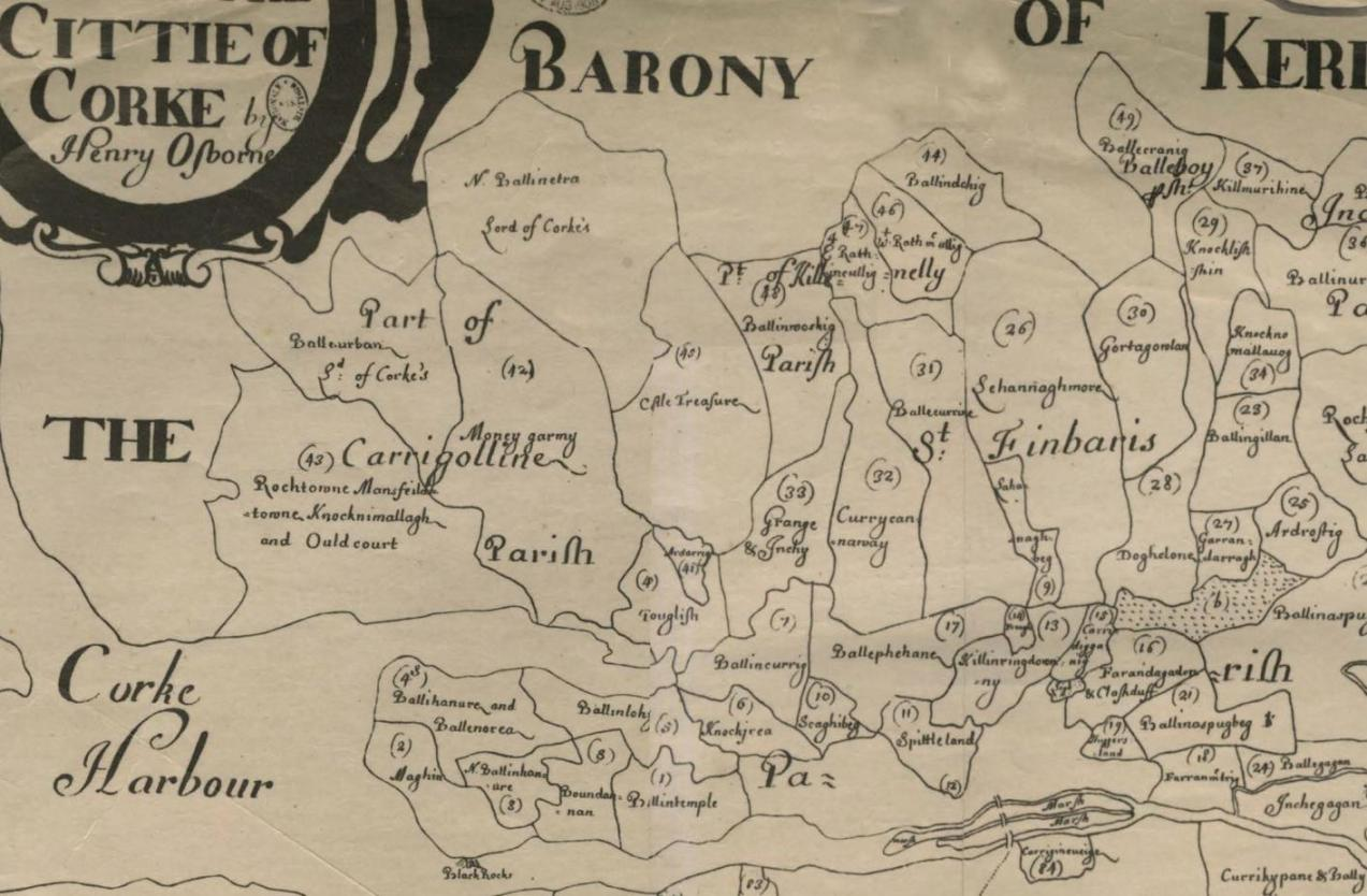 834b. Section of Down survey map of Cork City, c.1655