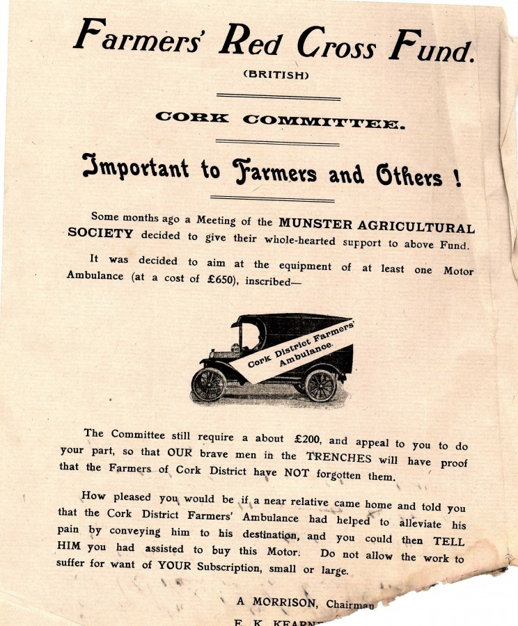 851b. Call for support for Farmers Red Cross Fund during World War I