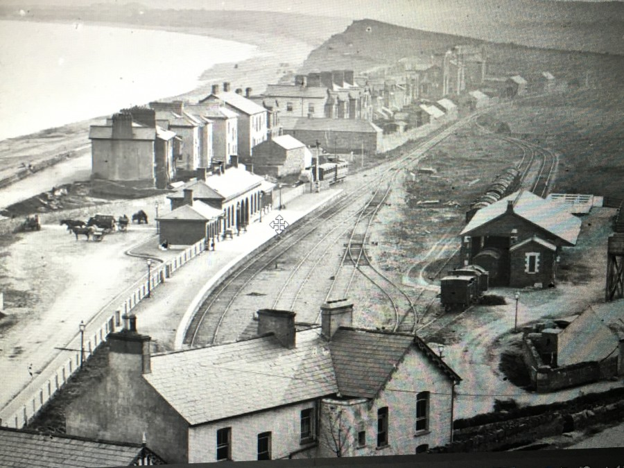 852b. Youghal beach and Railway Station c.1910