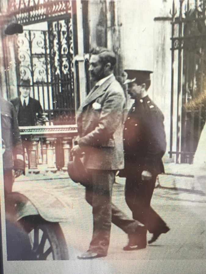 855b. Roger Casement being led to the gallows at Pentonville Prison, 3 August 1916