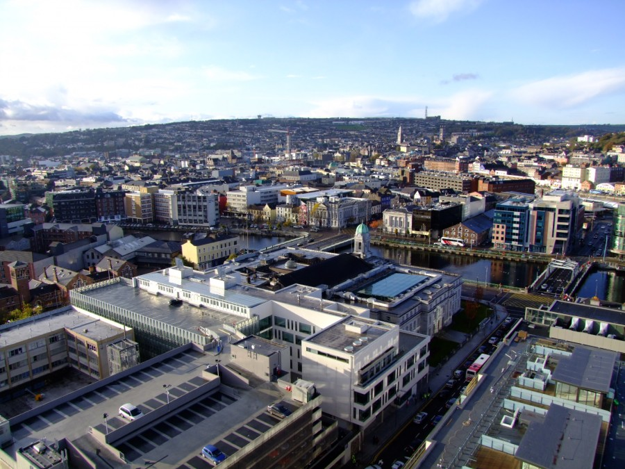 Cork City Hall Complex and the city centre island beyond, view from the top of the Elysian Tower, present day