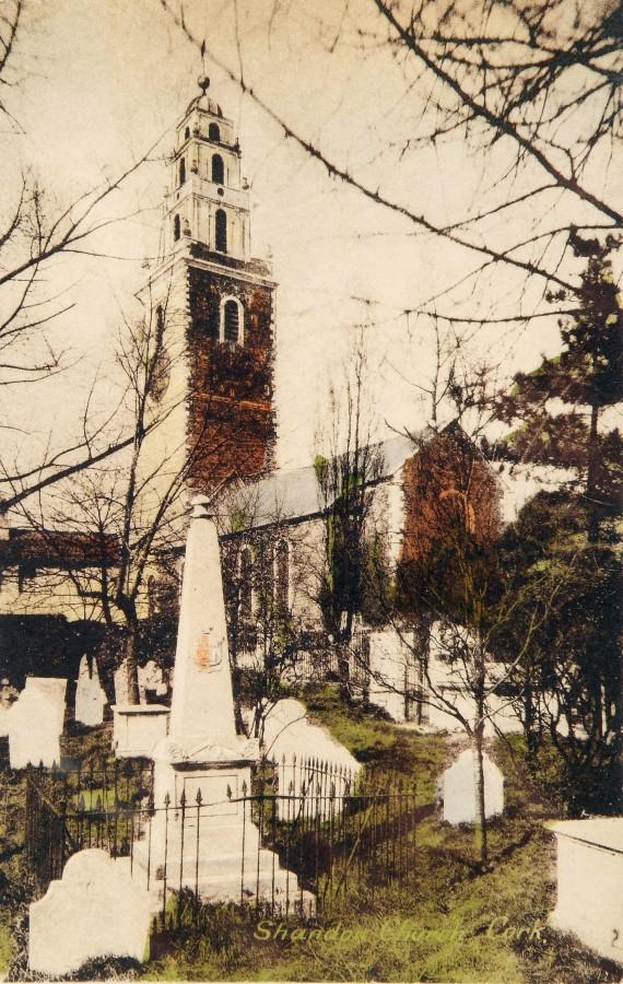 863a. Postcard of St Anne's Church, Shandon graveyard, c.1910