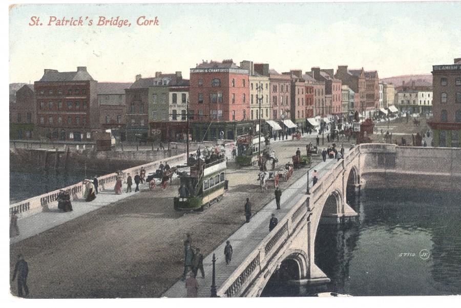 863b. Postcard of St Patricks Street with Mangan's Clock, c.1910