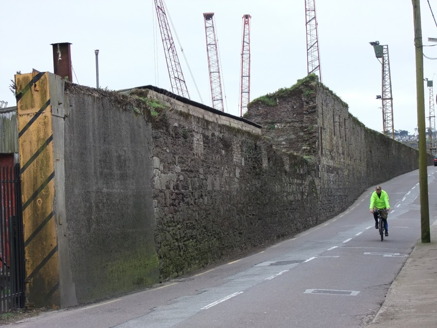 880b. Wall of former Royal Victoria Dockyard, Passage West, present day