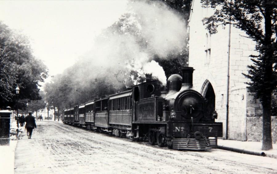 882a. Cork Muskerry Tram locomotive on Western Road Cork City, c.1910