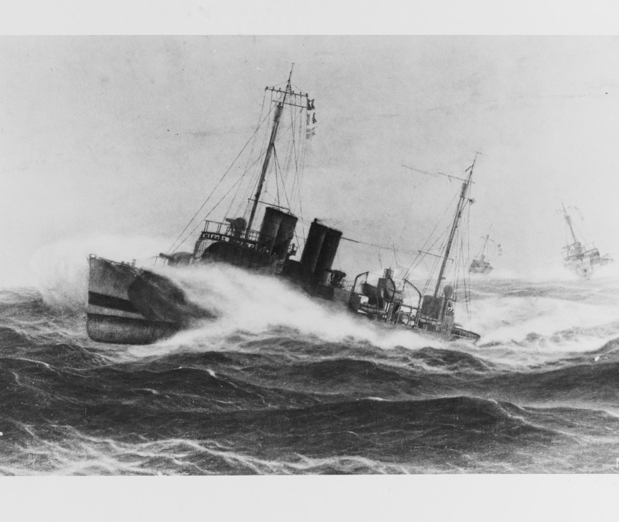 894a. Painting by Burnell Poole, 1925. Depicting three U.S. Navy destroyers fighting heavy seas while on World War I escort service, off Queenstown, Ireland