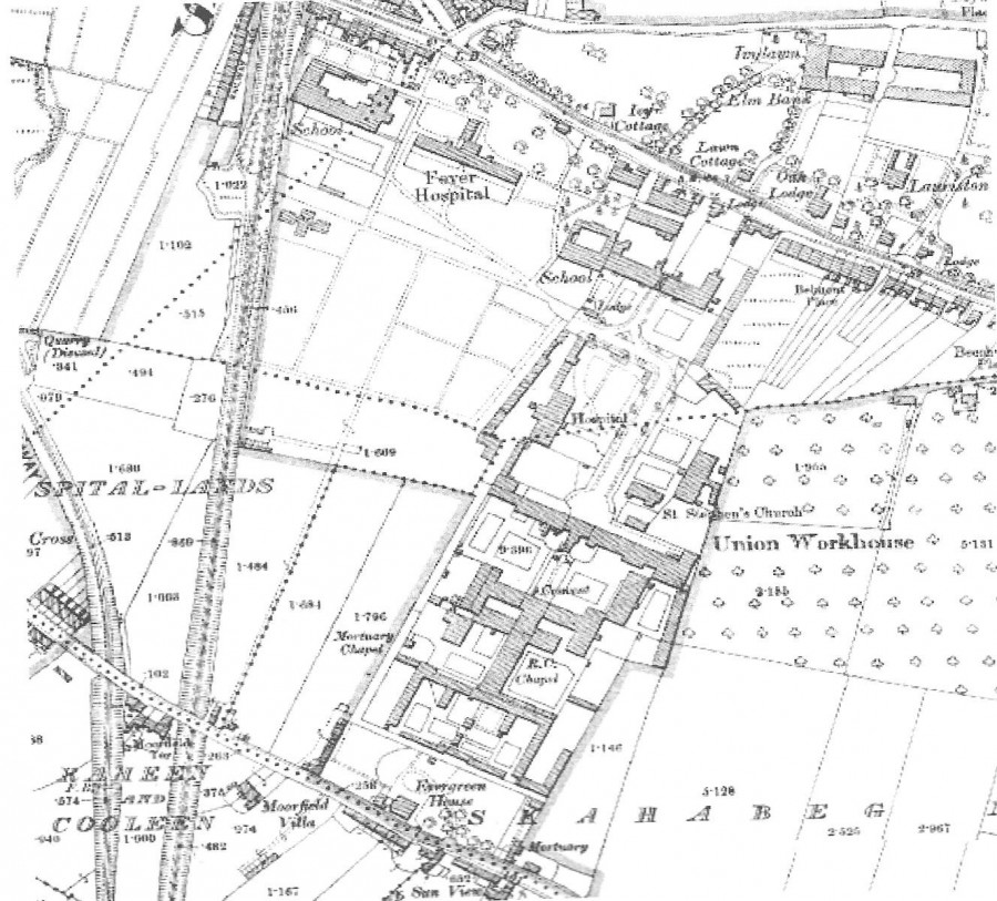 899a. Map of Cork Union complex with Cork District Hospital, c.1910