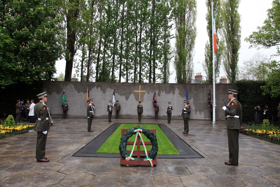 904b. Cadets stand to attention around the plot of the 1916 Leaders in Arbour Hill, Dublin