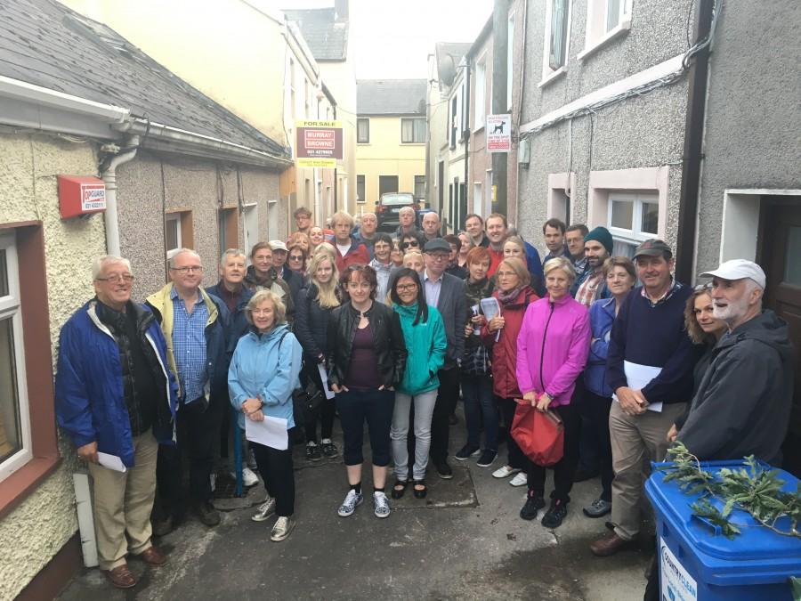 Group on Kieran's historical walking tour of Shandon quarter, Cork, July 2017
