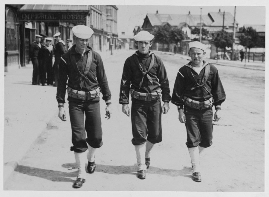 912b. U S Sailors patrolling streets of Queenstown