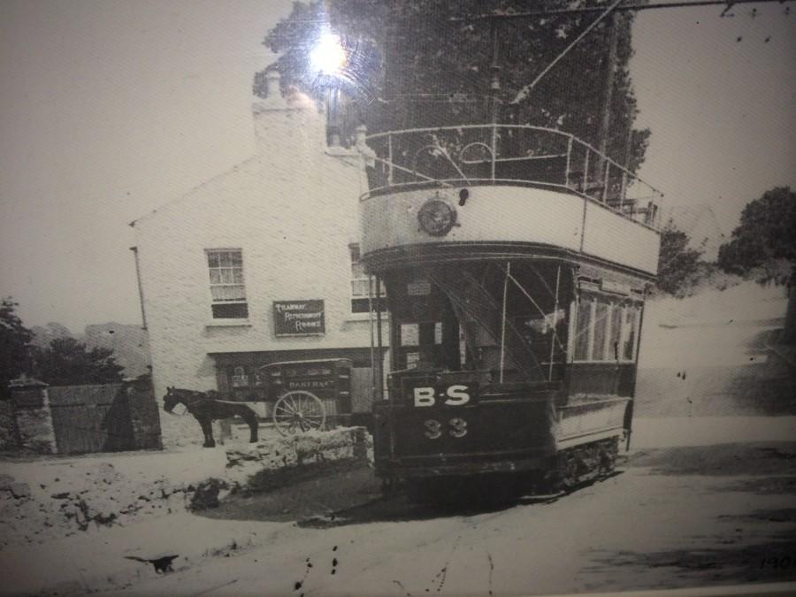 Tram at Blackrock Pier, c.1900