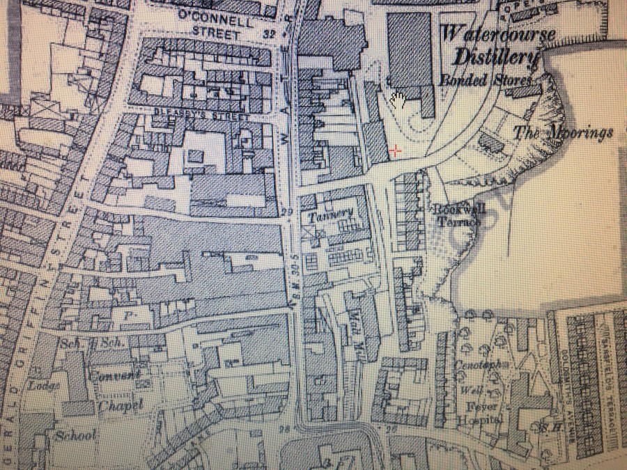 917b. Section of Ordnance Survey Map of Watercourse Road, c.1900 showing the Dunn's Tannery and Watercourse Distillery