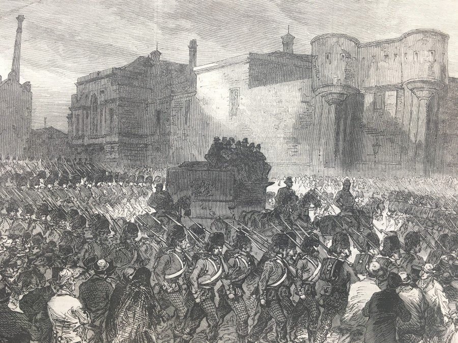 923b. Prisoners leaving the new Bailey for the Assize Court, Illustrated London News, November 1867