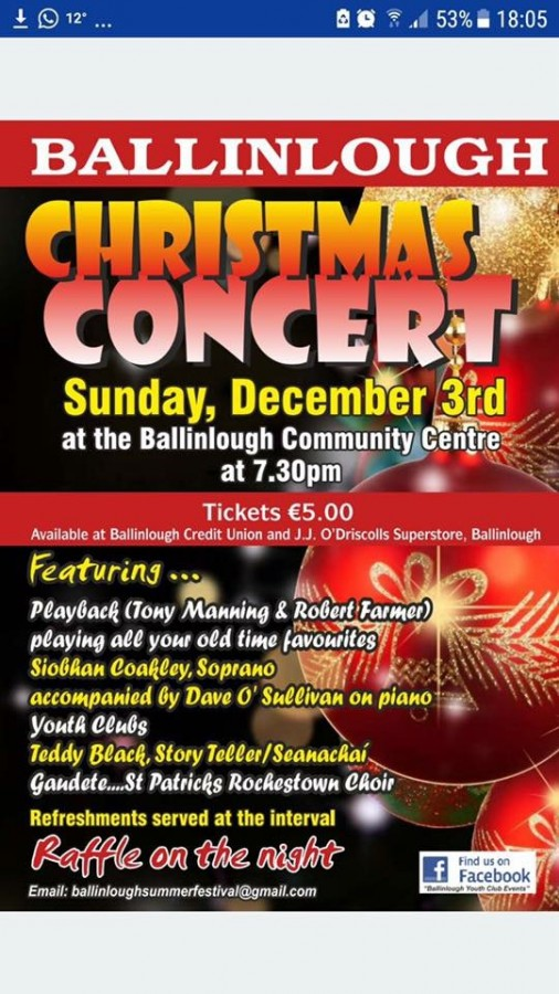 Ballinlough Youth Clubs Christmas Concert, 3 December 2017