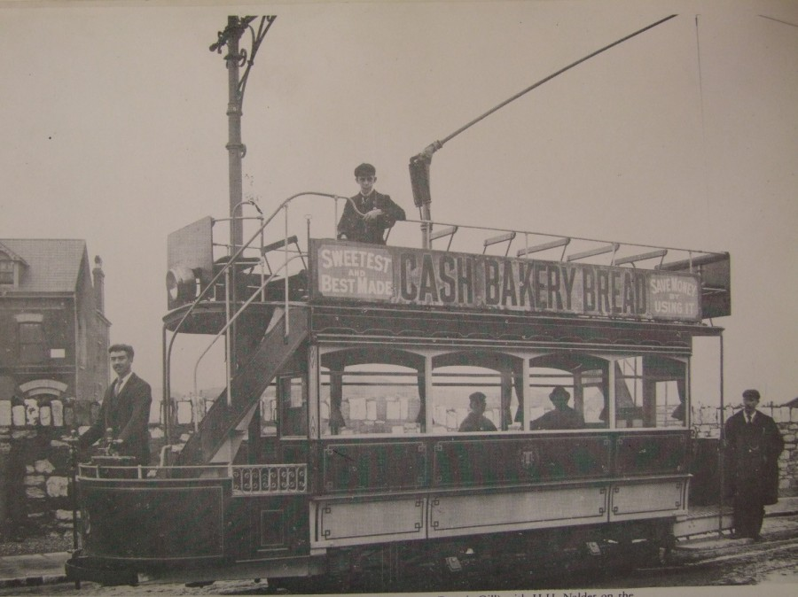 926b. Tram outside Electric Power House and Tram Car Shed on Albert Road, c.1900