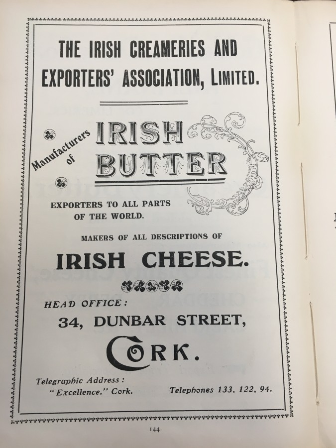 928b. Ad for Cork Butter Merchants 1919, from Cork Its Chamber and Commerce