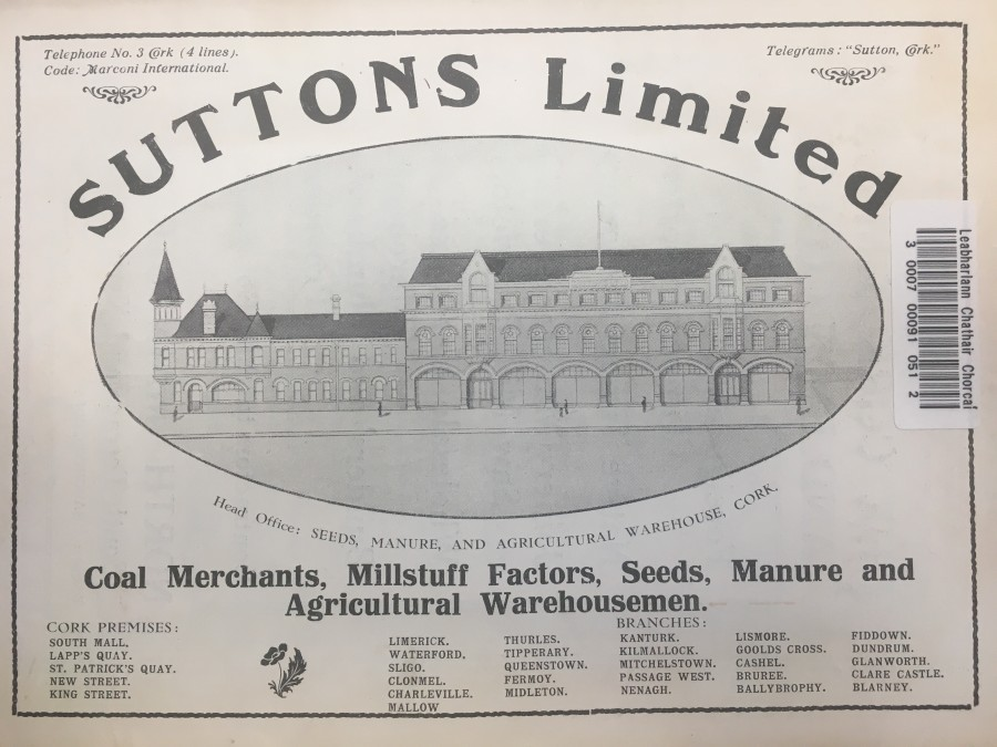 929a. Suttons Building South Mall, one of the key coal merchants in Cork in 1918