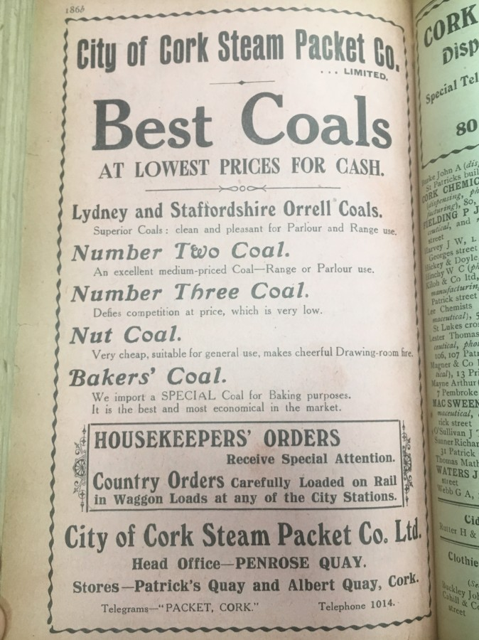 929b. Advertisement for importer City of Cork Steam Packet Company 1918