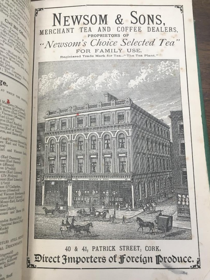 930a. Advertisement Guy's Commercial Directory of Cork 1883 for Newsom's Tea and Wholesalers