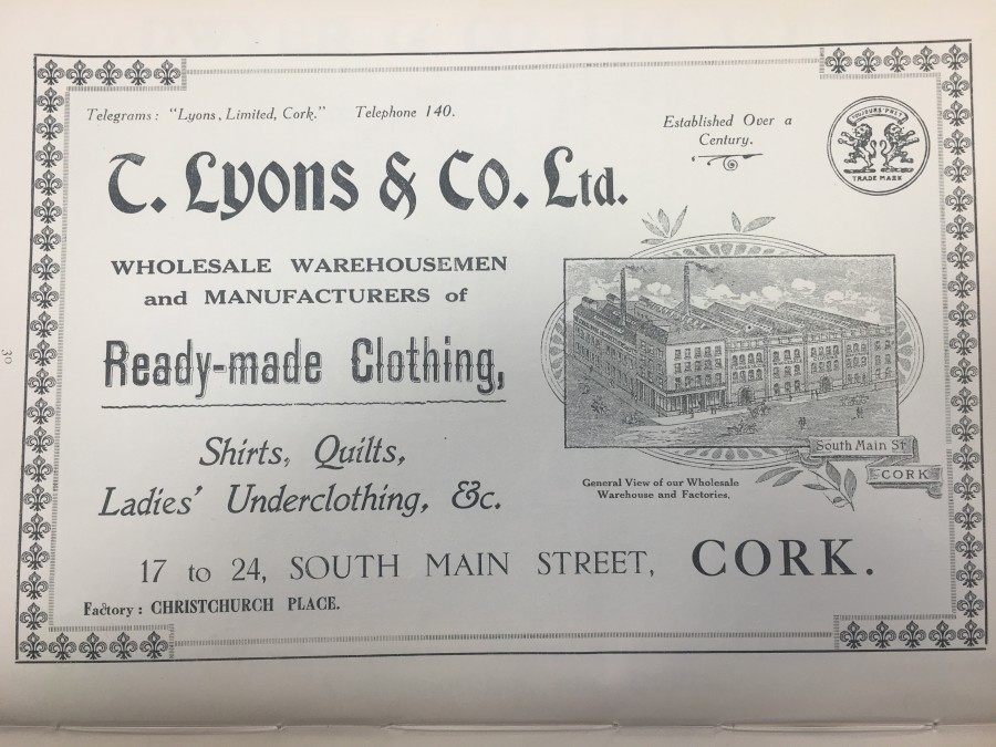 935a. Advertisement for T Lyons, South Main Street, 1919