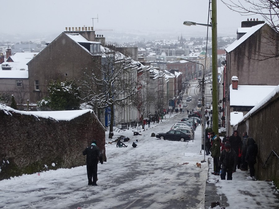 Snow atop St Patrick's Hill, Cork City, 2 March 2018