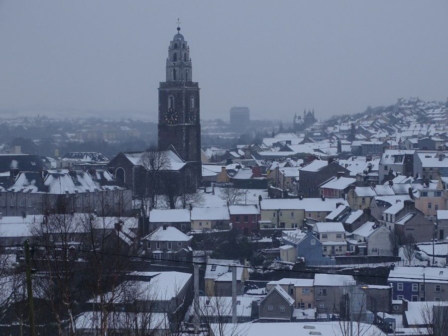 Snow atop St Patrick's Hill, & Shandon, Cork City, 2 March 2018